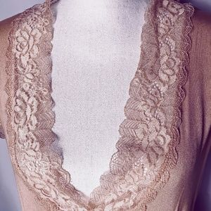 POL Tops - Blush Pink Deep Vee Lace Trim Top - S